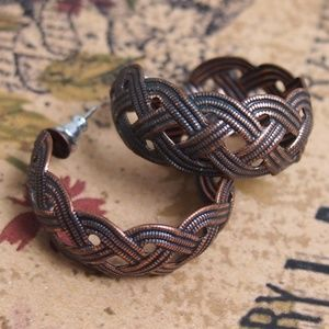 Braided Wide Antiqued Copper Hoop Earrings
